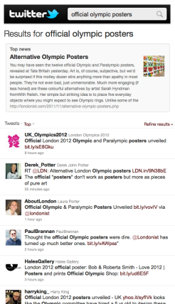 Twitter listings for Official Olympic Posters
